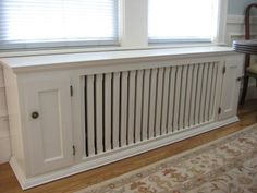 radiator bench that could corner with cabinetl Diy Radiator Cover, Kitchen Sitting Areas, Dining Room Windows, Kitchen Benches, Built In Bench, Apartment Design, Victorian Homes, Radiators, Diy Furniture