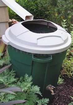 A rain barrel is as easy as can be. Make one out of a large trashcan with a faucet and rubber gaskets. Cut a hole in the top to put your downspout into, and cover the hole with hardware cloth to keep out leaves and mosquitoes.