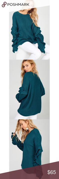 Teal Ruffle Sleeve Sweater Teal Ruffle Sleeve Sweater  Ships Next Week! No Trades Price Is Firm Glamvault Sweaters