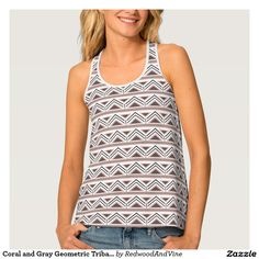 Coral and Gray Geometric Tribal Pattern