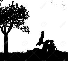 Tree Silhouette, Silhouette Vector, Family Picnic, Backdrops, Park, Spring, Cutting Files, Silhouettes, Google Search