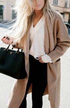 Boyfriend camel cardigan - fall outfit ideas, street style inspiration