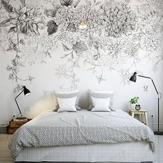 Hand Painted Sketch Hanging Flowers Floral Wallpaper Wall Mural, Hanging Vine with Flowers Wallpaper Wall Mural, High Quality Home decor Wallpaper Wall, Flower Wallpaper, Bright Wallpaper, Hanging Flowers, Big Flowers, Floral Flowers, White Flowers, Paper Flowers, Daisy Flowers