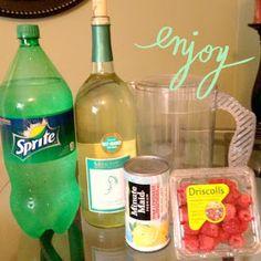 Moscato, sprite, pink lemonade punch. So yummy!