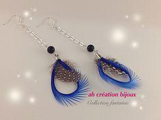 Boucle d'oreille  en plume et argent  Couleur bleu électrique
