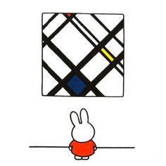 Dick Bruna's Illustraties waren heel erg beinvloed door De Stijl beweging. vooral de architect Gerrit Rietveld was een grote inspiratie bron voor hem. Hij was zich dan hier ook zeer van bewust en heeft Nijntje afgebeeld met een werk uit De Stijl.