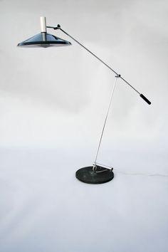 Rosmarie & Rico Baltensweiler; Type 600 Chromed and Enameled Metal Floor Lamp, 1960.