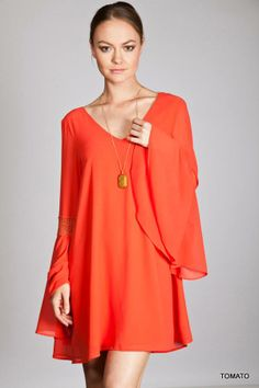 Darling dress with deep V plunge back, with the widest Bell Sleeves I've seen all season!! Small/Medium/Large  Like me on  www.facebook.com/dahliatravelingboutique #dress #boho #bellsleeves #vplungeback