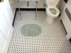 Interior Ceramic White With Black Cove Base Tile And Accents Bathroom Id