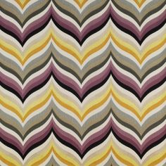 Tampa Fabric An embroidered curtain fabric featuring a stylised foliage design with flowing vertical stripes woven in multicolours of lavender, charcoal, grey, orange and yellow on a natural ground.