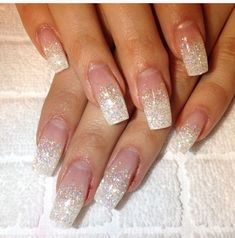 Wedding day nails winter wedding nails, gel nails и sparkle Polygel Nails, Prom Nails, Love Nails, White Acrylic Nails, Summer Acrylic Nails, Colorful Nail Designs, Gel Nail Designs, Sparkle Nails, Glitter Nails