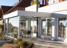 Conservatory modern extension in Upper Austria Flat roof optics & sliding doors, Conservatory Kitchen, Pergola, Bedroom Balcony, Backyard, Patio, Flat Roof, Winter Garden, Sliding Doors, Austria