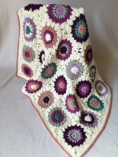 Beautiful Starburst Granny Square Blanket!