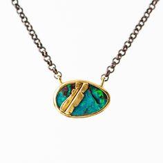 Sweet little boulder opal necklace  #goldenjoinery #Jamiejosephjewelry #mendingfracturedstones #austrailianopal #newsustainableapproach #kintsugi