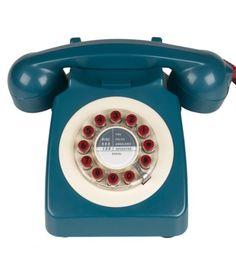 Téléphone rétro 746 Bleu, crème et Rouge