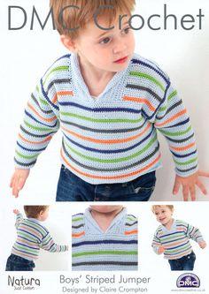 DMC Crochet Boys Striped Jumper (14930L/2) | DMC Crochet Patterns | Knitting Patterns | Deramores