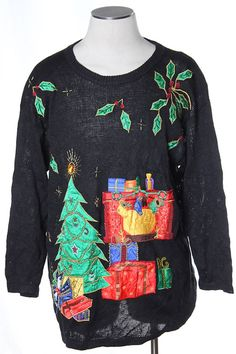 Tacky Christmas Tree Sweater from TheSweaterStore.com Christmas Tree Sweater, Ugly Xmas Sweater, Tacky Christmas, Vintage Sweaters, Hair And Nails, Fashion Shoes, Holidays, How To Make, Women