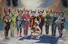 <span class='h1'>Farley Aguilar</span><br><br><em>9 Boys and 1 Girl</em><br>2014, Oil on canvas, 45 1/2″ x 68 1/2″