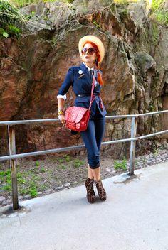 The wardrobe of Ms. B: Pinstripe,Red