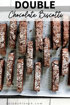 An easy Double Chocolate Biscotti Recipe that is perfect to serve with coffee or share as gifts during the holidays. Double Chocolate Biscotti Recipe, Easy Biscotti Recipe, Chocolate Peanut Butter, Christmas Biscotti Recipe, Just Desserts, Dessert Recipes, Mason Jar Desserts, Baking Recipes, Butter Tarts