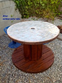 """Finished Industrial Spool Table (It would be cool to """"tile"""" the top with pennies and resin.) (Josh would love to do this)"""