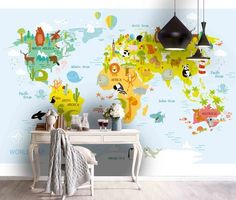 (1) 3D World Map Cartoon Animals Light Blue Background Wall Mural Wallpape – Jessartdecoration Cartoon Wall, 3d Cartoon, Color World Map, Kids World Map, Map Wallpaper, Mountain Wallpaper, Light Blue Background, Types Of Painting, Removable Wall