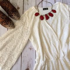Spotted while shopping on Poshmark: Cream Lace Romper! #poshmark #fashion #shopping #style #Dee Elle #Pants