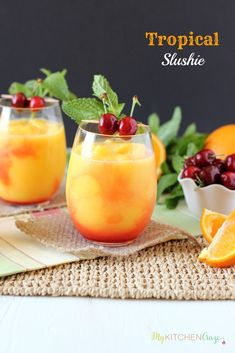 Tropical Slushie ~ mykitchencraze.com ~ A cool and refreshing drink filled with fruits and SunnyD! Yum!! Party Food And Drinks, Dessert Drinks, Fun Drinks, Alcoholic Drinks, Beverages, Best Bloody Mary Recipe, Bloody Mary Recipes, Refreshing Drinks, Summer Drinks