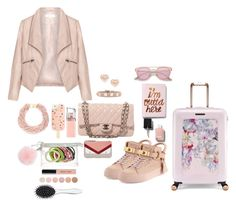 """""""Blush and gold pink travel  essentials"""" by shopnstyle-consulting ❤ liked on Polyvore featuring Zizzi, Express, BUSCEMI, Ted Baker, Chanel, Jane Tran, Michael Kors, Tory Burch, Valentino and Kenneth Jay Lane"""