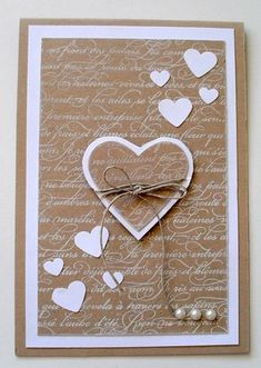 handmade Valentine card ... kraft and white ... lots of hearts ...