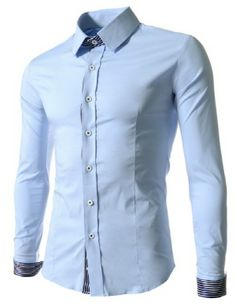 (CEL05-SKY) Mens Slim Fit Stripe Patched Stretchy Long Sleeve Shirts