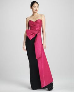 Draped Colorblock Gown by Notte by Marchesa. Reminds me of Audrey Hepburn in Funny Face.