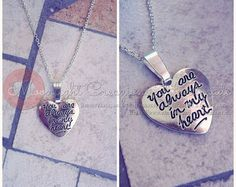 You are always in my heart! Silver plated handmade necklace by moonlightcreazioni. Explore more products on http://moonlightcreazioni.etsy.com
