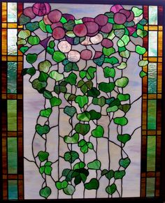 wallacegardens: A lovely rendition of the morning glory in stained glass: the wide-open flowers and trailing heart-shaped leaves.
