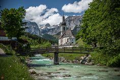 berchtesgaden, bridge, building, church, germany, nature, ramsau, river