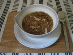 Lentil and mushroom soup. Gluten free vegan and gorgeous.