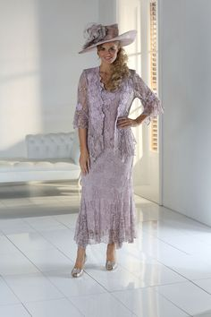 Ann Balon Lace Pamela Three Piece In Madre Perla A fabulous array of colours are available in this extremely flattering and comfortable style (see Ann Balon colour swatch attached) Sizes available are Medium, Large, XL and Mother Of The Bride Plus Size, Mother Of The Bride Dresses Long, Mothers Dresses, Mother Bride, Mother Of Groom Outfits, Bride Gowns, Occasion Dresses, Formal, Colours