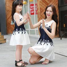 Familia Juego Trajes Lindos de Verano Vestidos A Juego de Madre E Hija Madre e Hija Equipo de La Familia(China (Mainland))