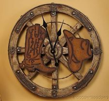 New WAGON WHEEL 20 WALL CLOCK Western Decor COWBOY BOOT & HAT Hanging Accent