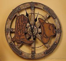 new wagon wheel 20 wall clock western decor cowboy boot hat hanging accent - Western Wall Decor