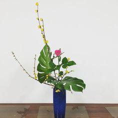 This week's Ikebana lesson. #ohara #ohararyu #ikebana #instaflower #floral #fleur #flowers #rose #flowerart #japan #小原流 #家元小品花器 #蝋梅 #バラ #花 #華道 #いけばな #生け花