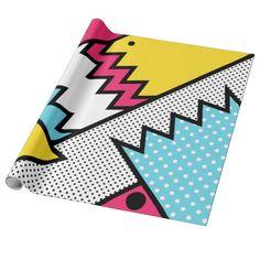 ZigZag Pop Art 80s Memphis Pattern Wrapping Paper designed by JunkyDotCom $16 on Zazzle.com