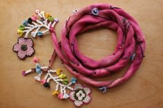 Pink Scarf. OS04 Pink Scarves, Needle Lace, Macrame Jewelry, Silk Thread, Wire Earrings, Anklet, Crochet Necklace, Jewelry Making, Textiles