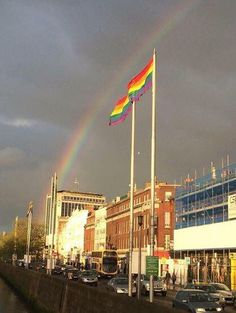 A rainbow today over Dublin after the Republic of Ireland voted YES for marriage equality.