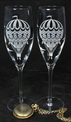 Hot Air Balloon Champagne Flutes, Wedding Gift for Bride and Groom - Available at The Wedding Gallery by Brad Goodell, www.BradGoodellWeddings.com