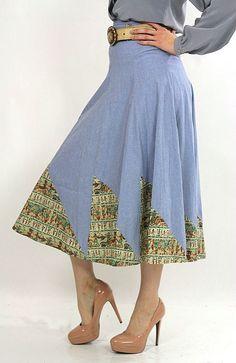 Vintage 70s Boho blue chambray patchwork maxi skirt