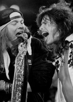 Axl Rose of Guns n Roses and Steven Tyler of Aerosmith   Tumblr