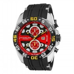 Relógio Stuhrling Original Men's 346.331664 Orbit Swiss Quartz Dual Time Date Red Dial Watch #Relogio #StuhrlingOriginal