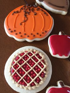 Cherry pie pumpkin Apple Decorated cookies www.facebook.com/cocossugarshack