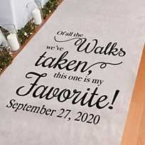 Makes your walk down the wedding aisle even more special with a personalized aisle runner. This Personalized My Favorite Walk Aisle Runner is printed with . Simple Weddings, Romantic Weddings, Outdoor Weddings, Outdoor Ceremony, Amazing Weddings, Indian Weddings, Outdoor Wedding Seating, Outdoor Wedding Favors, Romantic Ideas
